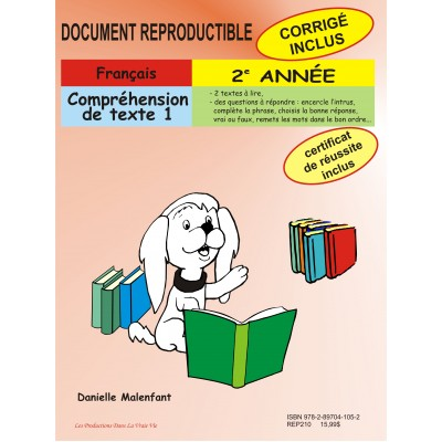 Matériel pédagogique - Compréhension de texte, 2e année, cahier reproductible