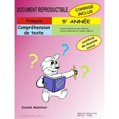 Matériel pédagogique - Compréhension de texte, 5e année, cahier reproductible